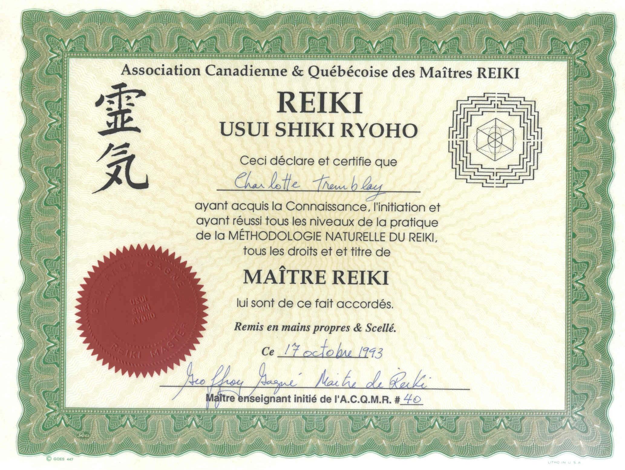 Diplome Reiki Vierge